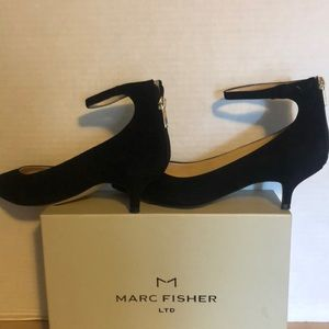 Marc Fisher Black Suede Ankle Strap Pump size 8M